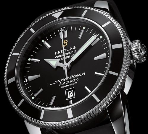 Breitling SuperOcean esfera negra correa de caucho reloj para hombre