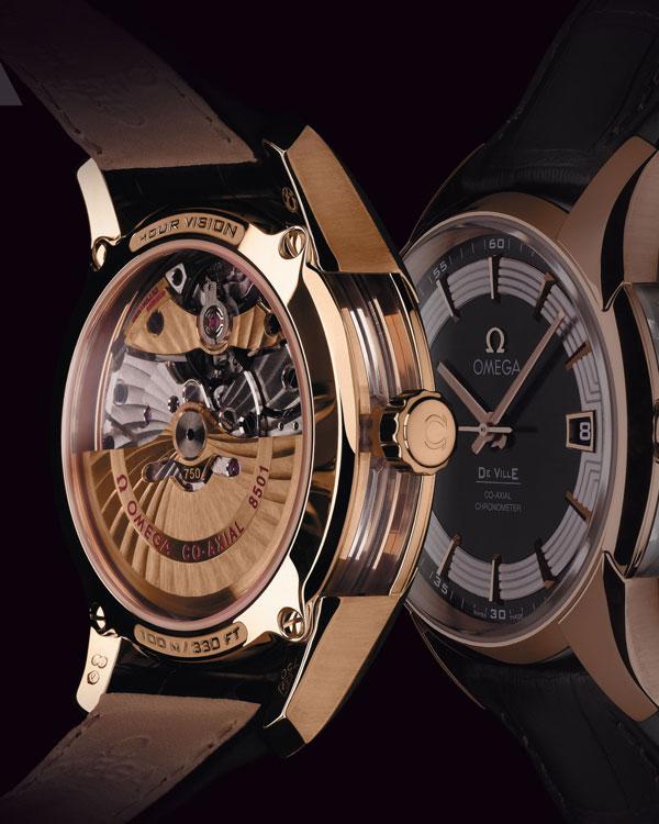 replica reloj omega de ville hour vision correa de cuero oro rojo
